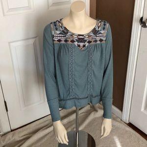 knox Rose neck line long sleeve blouse